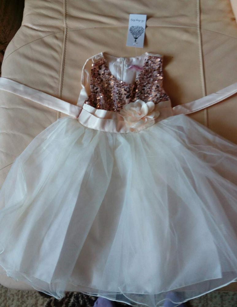 Girl's Sequined Flower Decorated Dress photo review
