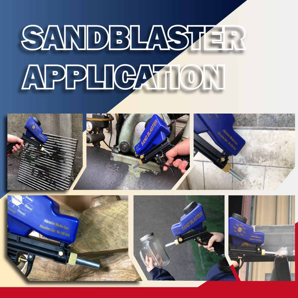 LEMATEC Gravity Feed Zandstralen Gun Air Sandblaster Zand spuitpistool voor roest verwijderen Sandblaster air tools schurende machine