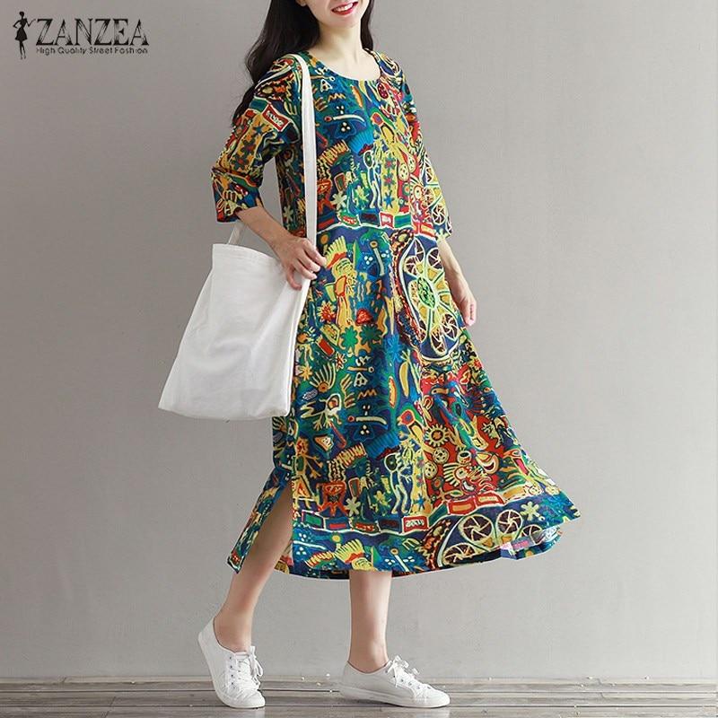 2018 ZANZEA Vintage Floral Print Women 3/4 Sleeve O Neck Pockets Summer Loose Casual Party Midi Dress Cotton Vestido Plus Size