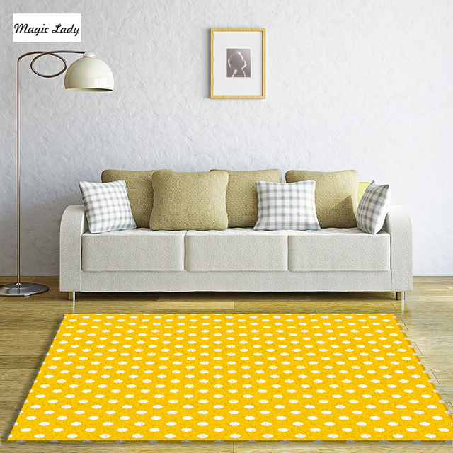 Carpet Yellow Soothing Living Room Modern Bedroom Art Polka Dots Pattern Abstract Texture Classical Circles Rounds