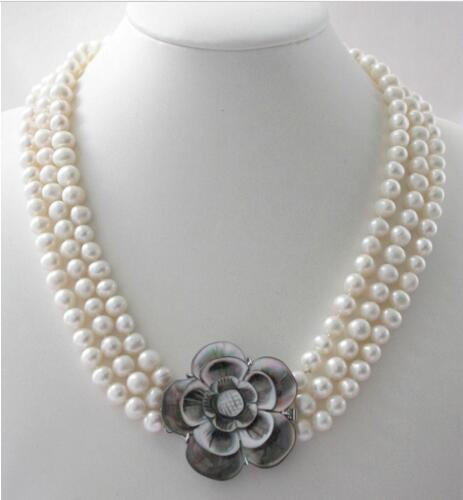 цена на Triple strands 8-9 mm natural south sea white pearl necklace shell flower clasp >>>girls choker necklace pendant Free shipping