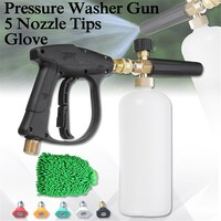 3000 PSI High Pressure Multifunction Washer Guns Set Water Jet Snow Suds Lance Cannon 1L Glove with 5 Nozzle Tips