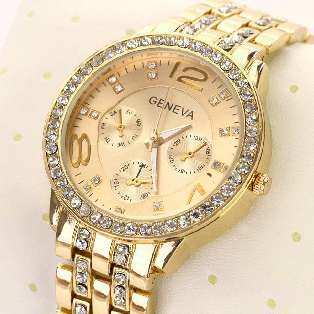 где купить Geneva Women Men Round Dial Rhinestone Stainless Steel Band Quartz Wrist Watch по лучшей цене