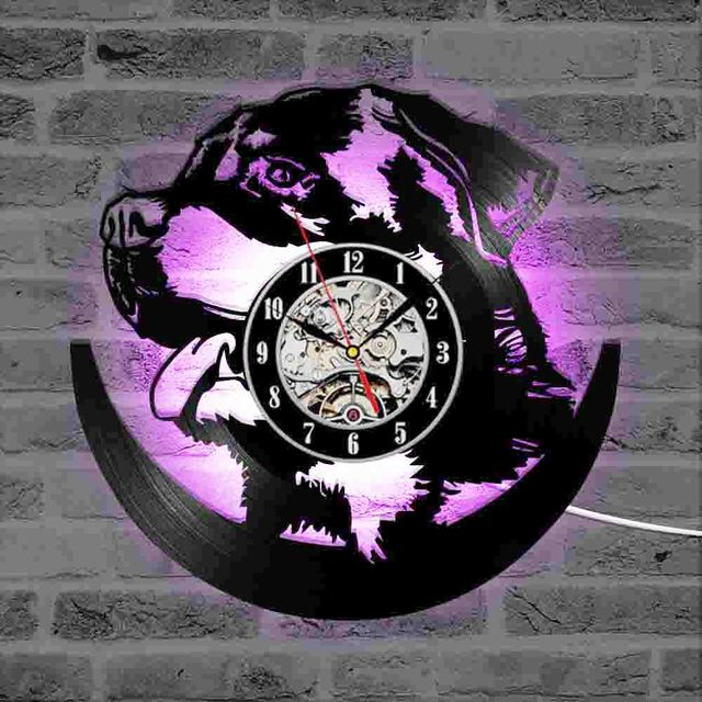 Hollow rottweiler dog 3d led lighting wall clock modern design vinyl hollow rottweiler dog 3d led lighting wall clock modern design vinyl record clock amimal silhouette room aloadofball Gallery
