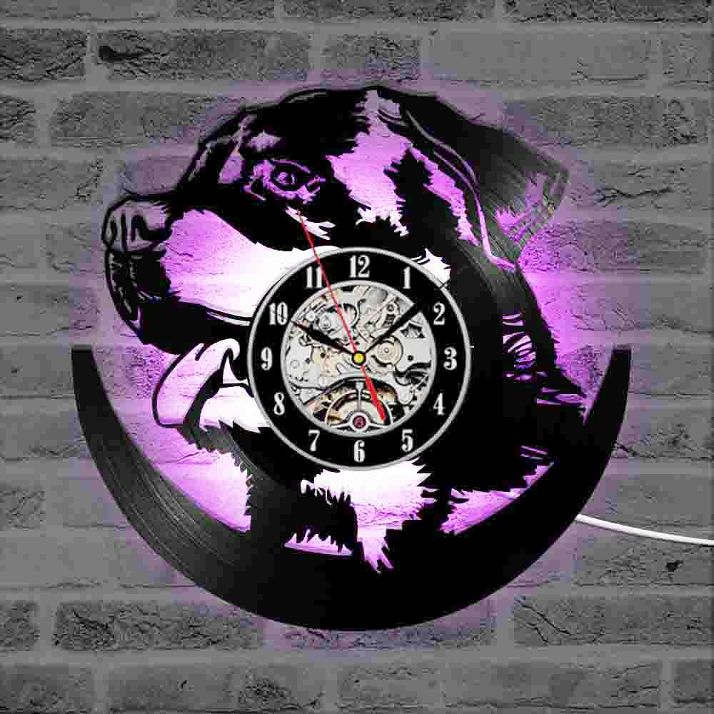 Hollow Rottweiler Dog 3D LED Lighting Wall Clock Modern Design Vinyl Record Clock Amimal Silhouette Room Decor Hanging Clock image
