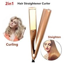 Профессиональный Выпрямитель для волос 2 в 1 Керамика для завивки волос Электрический цифровой Контроль температуры Красота щипцы для завивки Flat Iron
