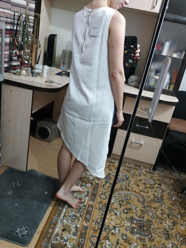 Chiffon Women Tops And Blouse Female Shirts O Neck Sleeveless Asymmetric Hem White Blouses Women Fashion Clothes photo review