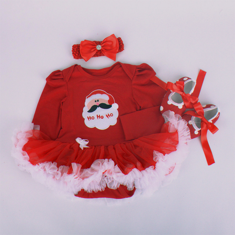 Baby Girl Long Sleeve Romper Dress 3pcs Clothing Sets Bebe Toddler Xmas Santa Clothing D ...