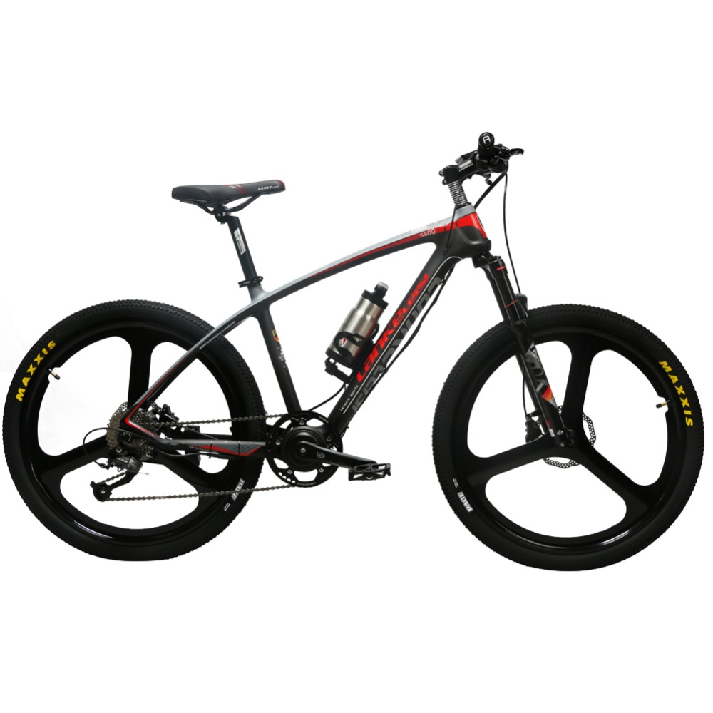 Lankeleisi S600 Adult Man's MTB Pedelec Carbon Fiber Power Assist eBike Electric Mountain Bike Bicycle 9 Speeds 250*36V*6.8AH