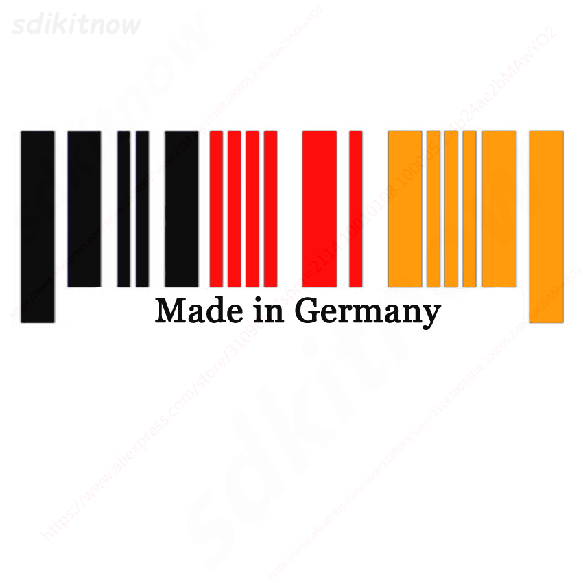 9x25cm New Made in Germany Flag Bar Code Car Stickers PVC Decal Styling For Benz BMW Audi Porsche Volkswagen OPEL Smart Maybach germany flag new 100