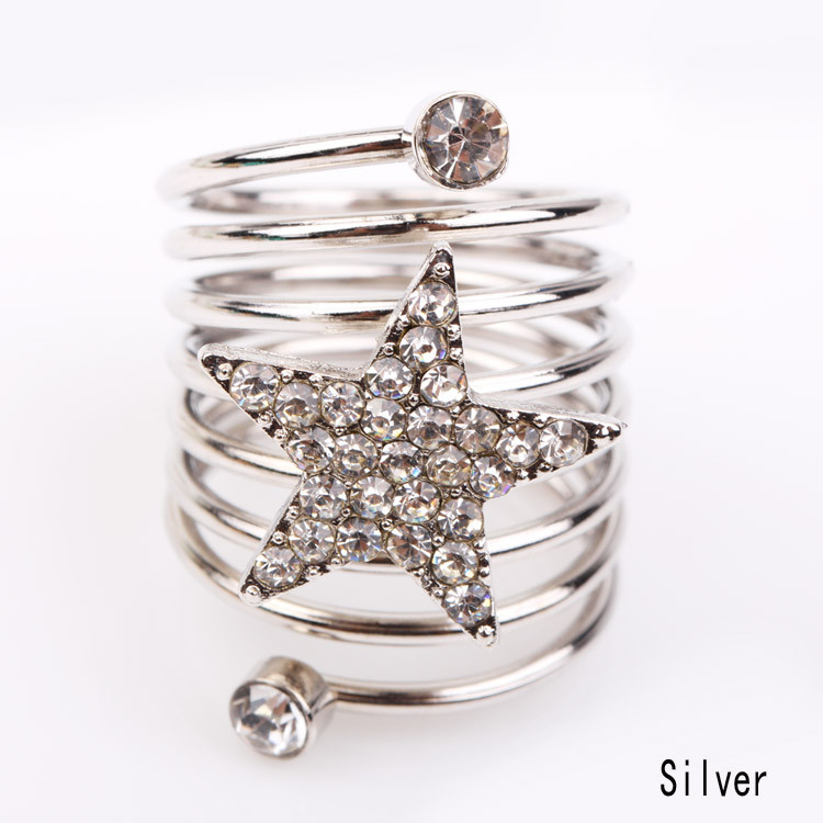 Fashion Women Personality Pentagram Female Ring Silver Zinc Alloy  multilayers Star and Letter Charming Jewelry Accessories