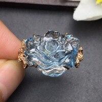Fine Jewelry индивидуальные Размеры Настоящее 18 К розовое золото AU750 100% натуральный голубой топаз драгоценных камней женские Кольца для Для женщ