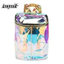 Aequeen женские прозрачные рюкзак голографическая высокое качество лазерной голограммой рюкзак школьный Подростка Плечо Bagpacks