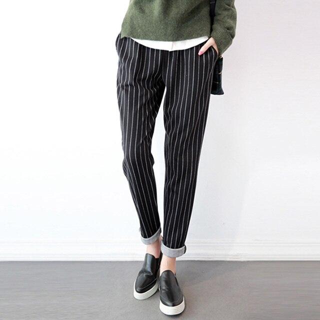 723028bc56a72 ZANZEA 2018 D affaires Travail OL Long Pantalon Femmes Taille Élastique  Poches Rayé Crayon Pantalon