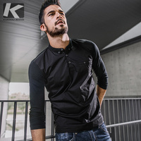 KUEGOU NEW Autumn Cotton Mens T Shirt Brand Menswear Long Sleeve Tshirt Casual Homme 762