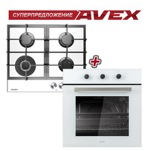Комплект: варочная панель с газконтролем, с чугунными решетками  AVEX HM 6044 W , белое закалённое стекло, тройная корона и электрическая духовка AVEX HM 6060 (конвекция, 6+1 режимы, стеклянный фасад)