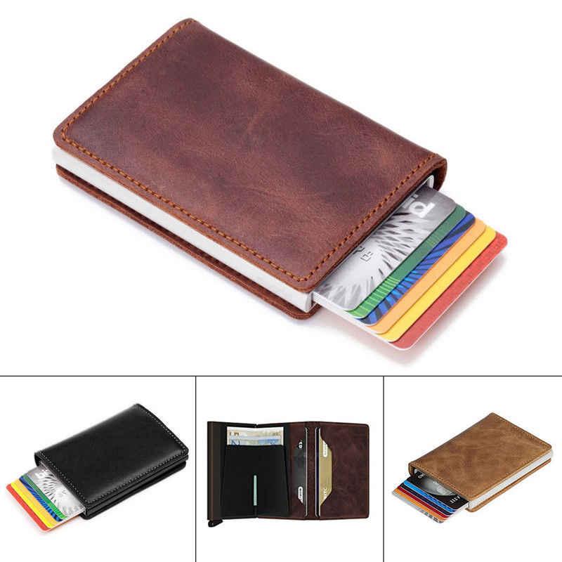 1 sztuk RFID blokowanie SKÓRZANY PORTFEL torebka portfel posiadaczy kart kredytowych pieniądze klip przypadku torby do przechowywania PU składany organizator podróży