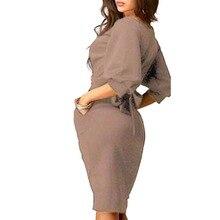 Summer Work Office Dress Half Sleeve O-Neck Elegant Ladies Bodycon Bandage Slim Party Dress Vestidos Plus Size
