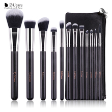 DUcare 12PCS Makeup Brushes Set Powder Foundation Eyeshadow Make Up Brushes Cosmetics Soft Synthetic Hair With PU Leather Case