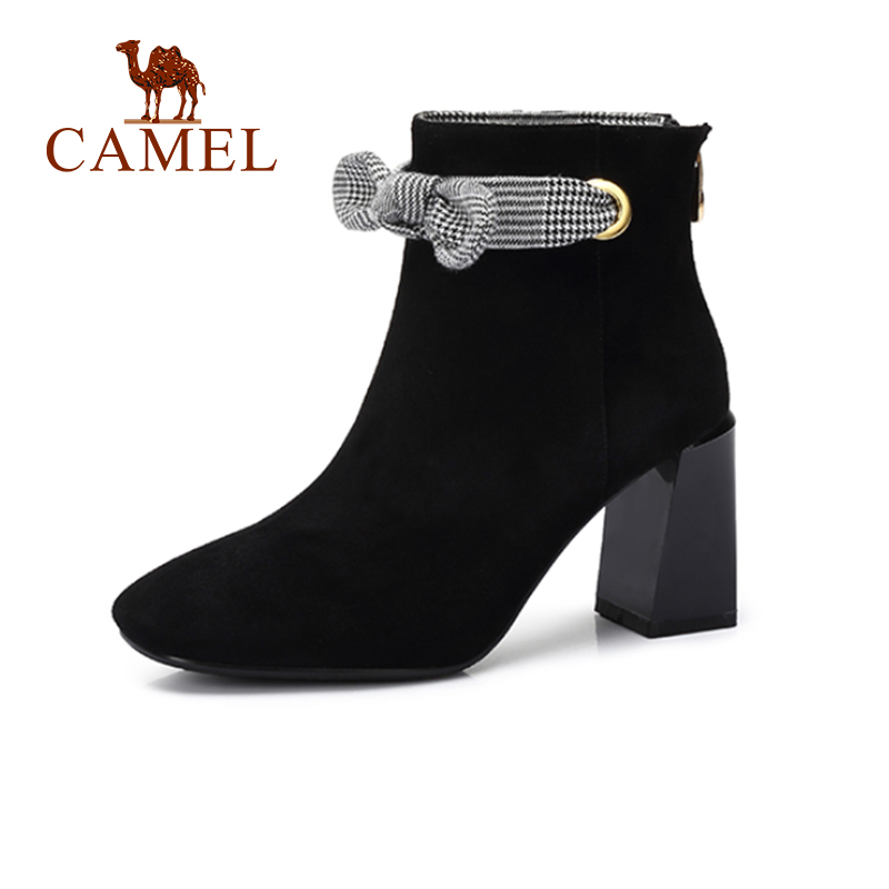 CAMEL Women High Heel Short Boots 2018 New Fashion Casual Black Color Thick Heel Boots Shoes Women Shoes For Girls camel camel boots cowhide thick heel rivet velvet fashion pointed toe boots vintage casual thermal boots