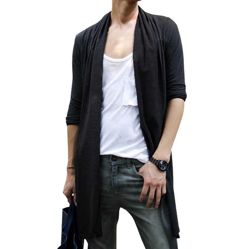 Cárdigan largo Mantle 2020 suéteres tejidos de primavera cálido suéter tejido para hombre cárdigan Delgado camisa de punto negro/gris tamaño S-3XL