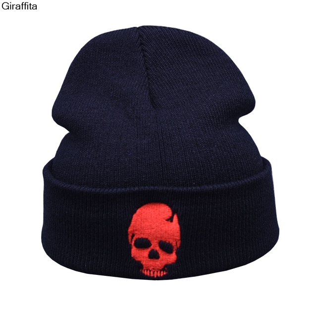 Cool Black Red Skulls Winter Warm Cap Men Women Skeleton Pattern