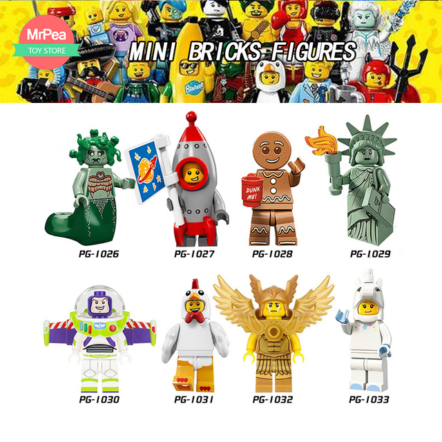 LEGOINGLY Bricks Figures Building Blocks Buzz Lightyear Compatible legoed Children Toys unicorn Lady Liberty Medusa gifts
