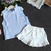 Kids Summer Child Girls Casual Ruffle Sleeveless Tops+ Shorts 2PCS SET Outfit