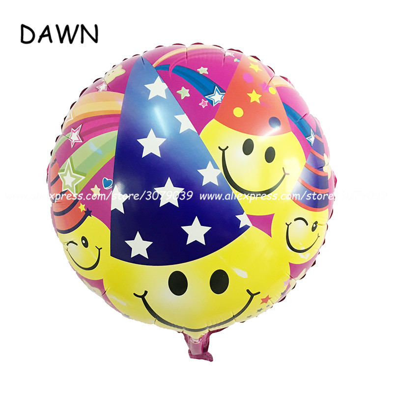 10pcs/lot 18inch round smile face expression bag aluminum balloon ball children birthday wedding holiday party decorations