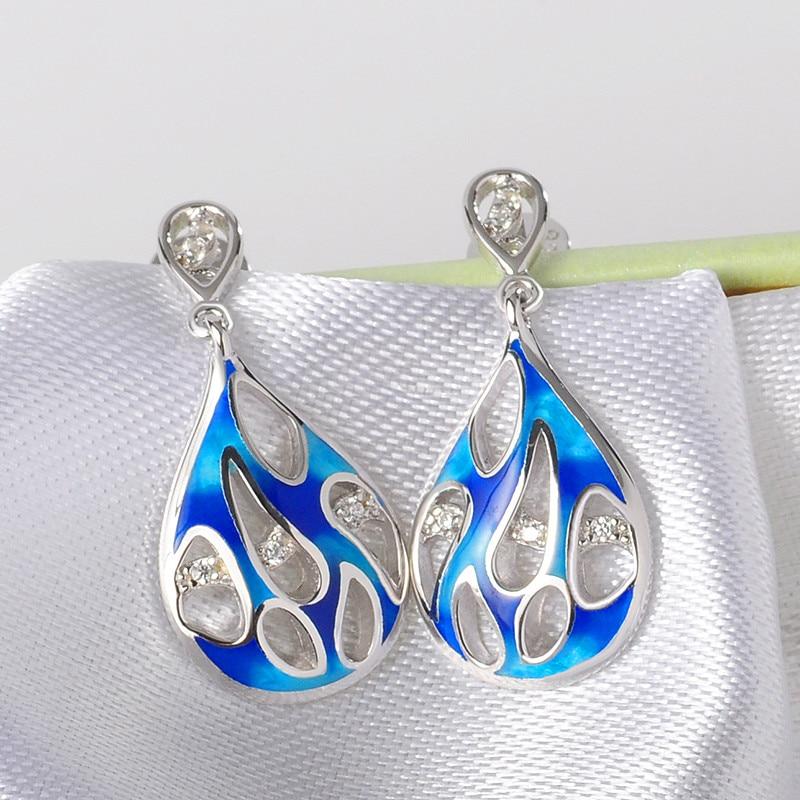 925 Sterling Argent Émail Femmes Boucles D'oreilles Bleu Émail Fleur et Petit Zircon boucles D'oreilles pour les Femmes Parti Bijoux - 2