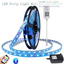 LAIMAIk RGBW LED Strip Light Set DC12V RGB Flexible Led Ribbon Tape 5m 300 Led Strip + Bluetooth Controller +EU US Power Adapter стоимость