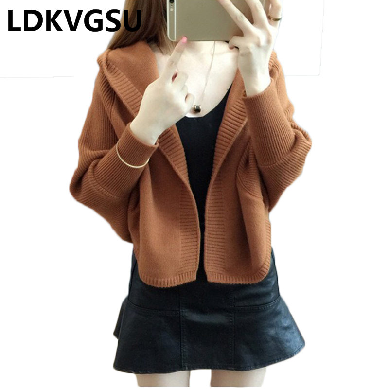 Women Hooded Sweater Cardigan 2018 New Korean Outside Loose Spring Autumn Bat Sleeve Short Female Knit Sweater Jacket is543