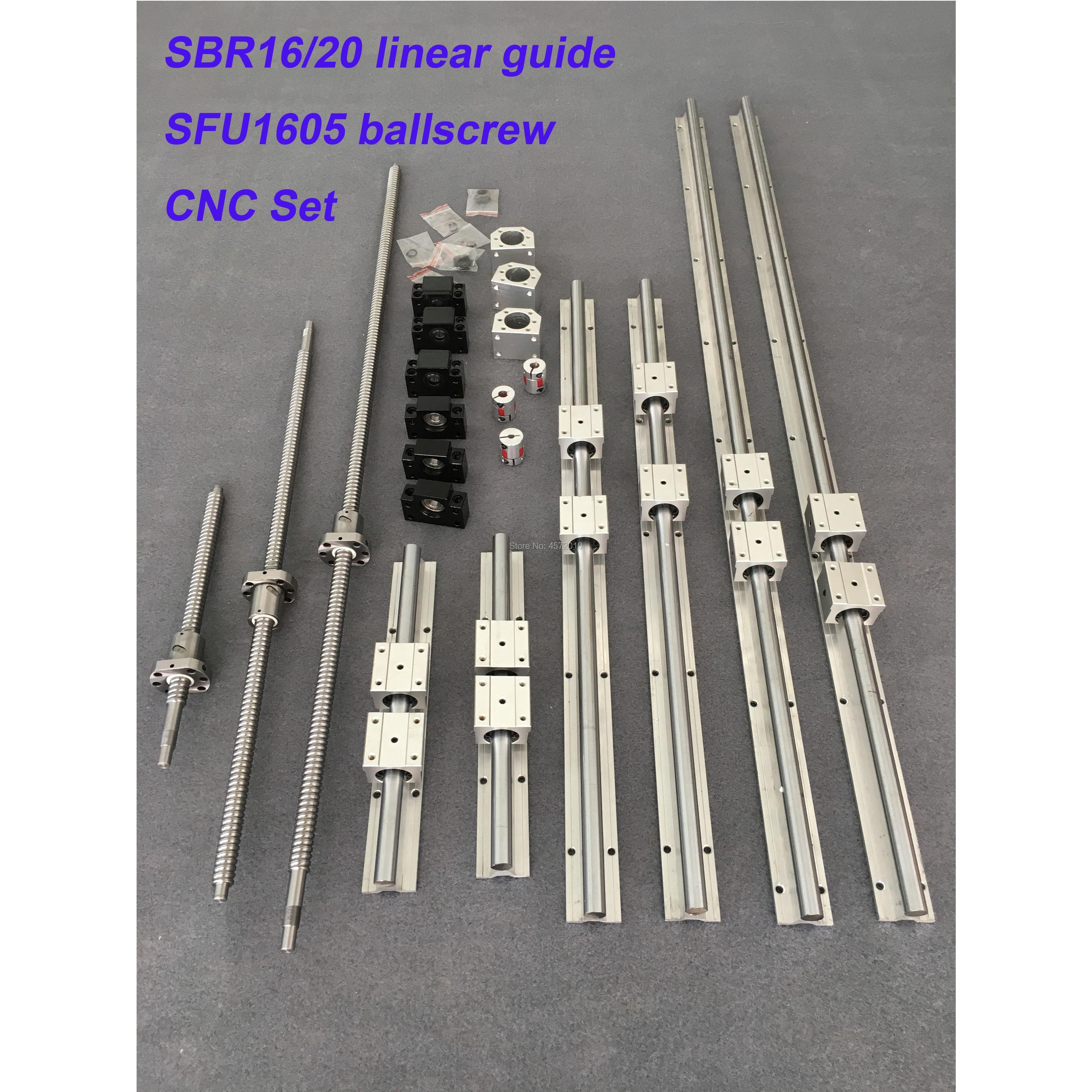 6 set SBR16 SBR20 Rail de guidage linéaire + vis à billes RM1605 SFU1605 vis à billes + BK/BF12 + boîtier d'écrou + coupleurs pour pièces de CNC