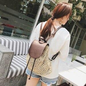 Image 5 - Женский соломенный рюкзак на шнурке, модная пляжная популярная сумка на лето, большой дорожный ранец BP3002