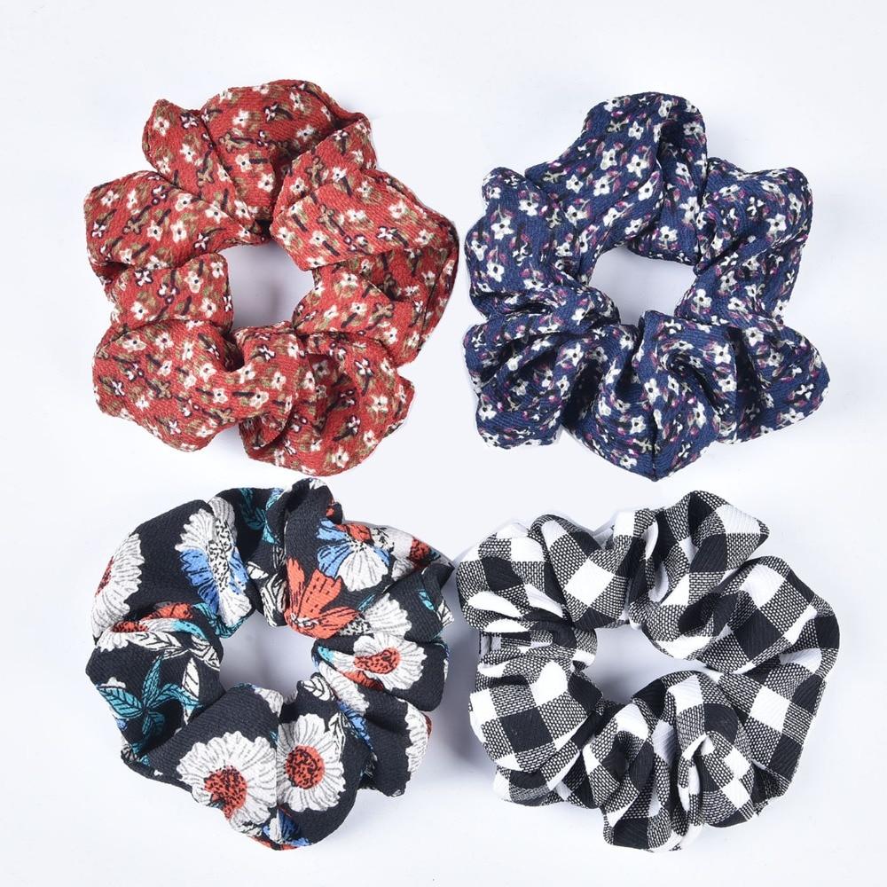 New Arrival  Bohemian Chiffon Flora Printing Scrunchies Checked Hair Tie Elastic Ponytail Holder Femal Hair Accessories