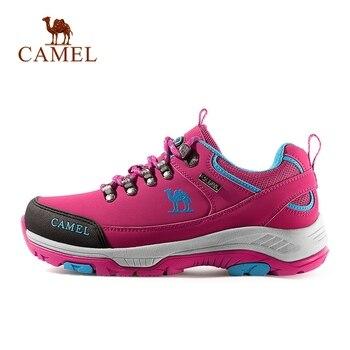 Zapatos de senderismo para hombre y mujer en color CAMEL, suela antideslizante y duradera de cuero mate, zapatos de Trekking para montañismo transpirables para exterior