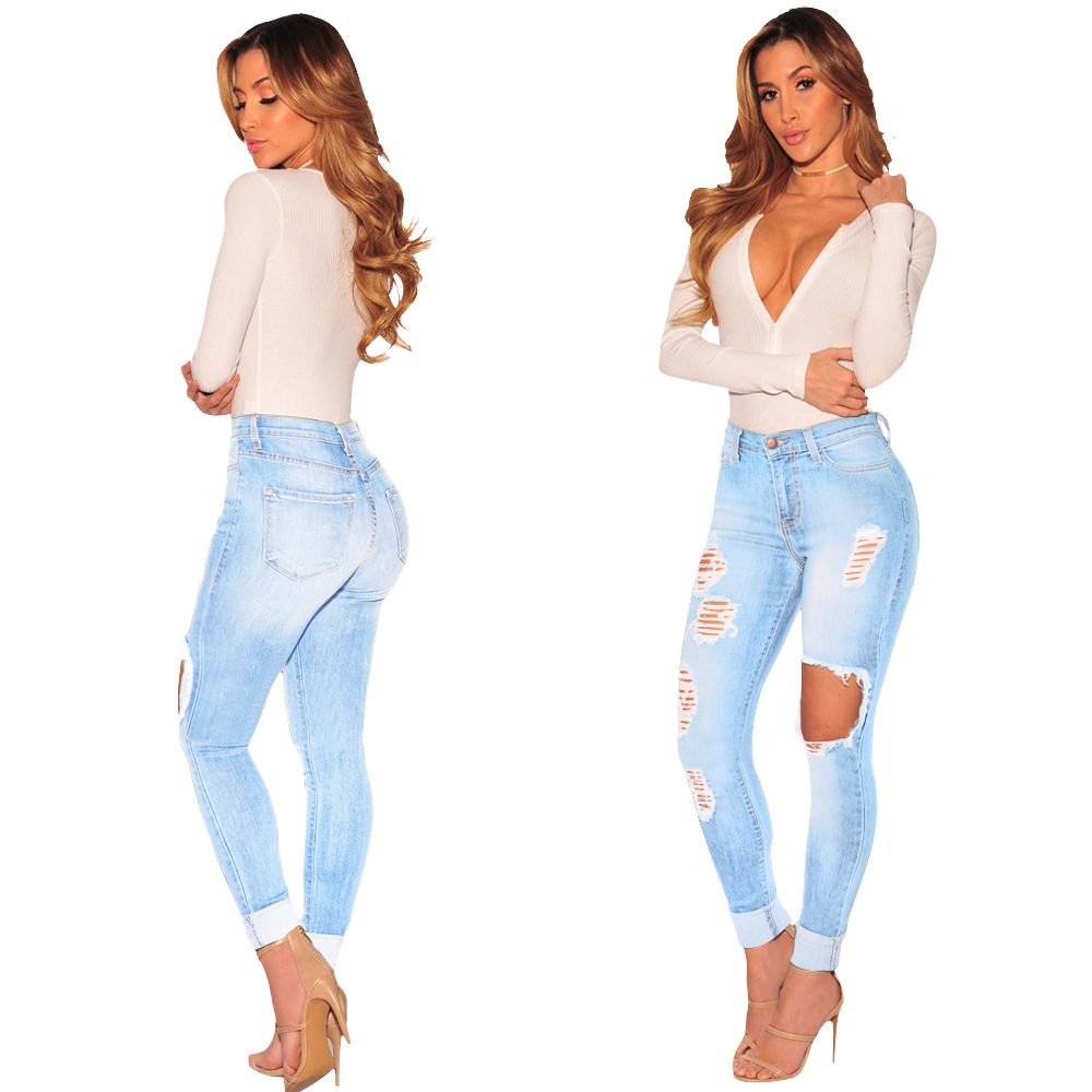 woman jeans stretch cotton slim high waist jeans hole ripped jeans women denim pants plus size. Black Bedroom Furniture Sets. Home Design Ideas