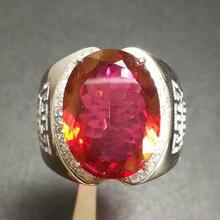 Мужское кольцо с красным топазом,, натуральный настоящий красный Топаз, серебро 925 пробы, 12*16 мм, 14 карат, большой драгоценный камень# FM18070214