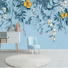 Nordic minimalist small fresh leaves floral watercolor style wall manufacturer wholesale wallpaper mural custom photo
