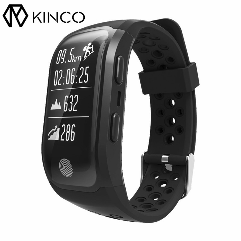 KINCO Bluetooth Waterproof GPS Heart Rate Monitor Bracelet Sedentary Distance Calorie Activity Monitor Smart Wristband for Phone no 1 d5 bluetooth smart watch phone android 4 4 smartwatch waterproof heart rate mtk6572 1 3 inch gps 4g 512m wristwatch for ios