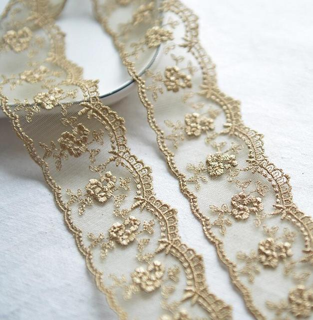 3 Meters Champagne Gold Thread  Flower Net Dress Lace Trim Embroidery Lace Accessories 4.5cm Width Free Shipping