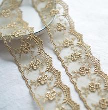 Red de flores de hilo dorado champán de 3 metros, acabado de encaje para vestido, accesorios de encaje bordado, 4,5 cm de ancho, Envío Gratis