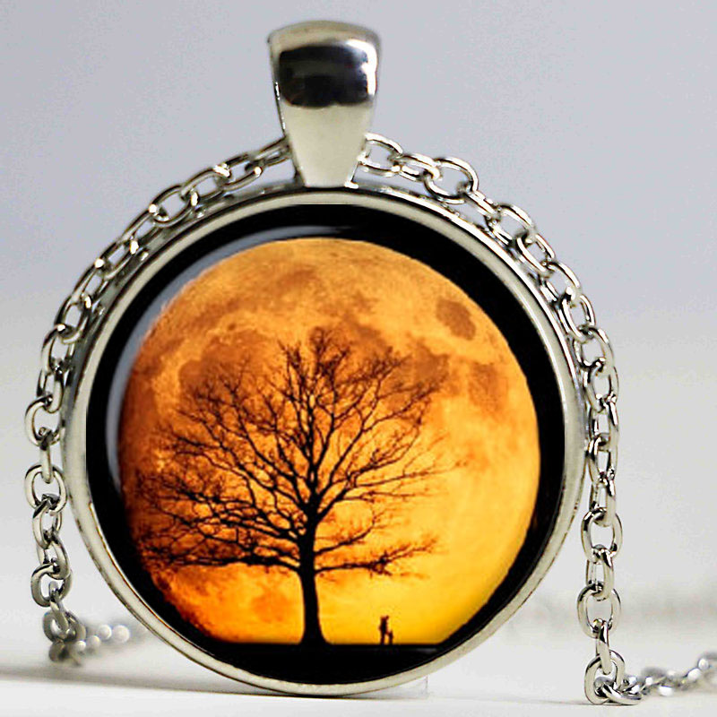 New Art Picture Tree of Life Vintage Glass Cabochon Pendant Black Chain Necklace Man Woman Dome Jewelry Chidren Kid Gifts