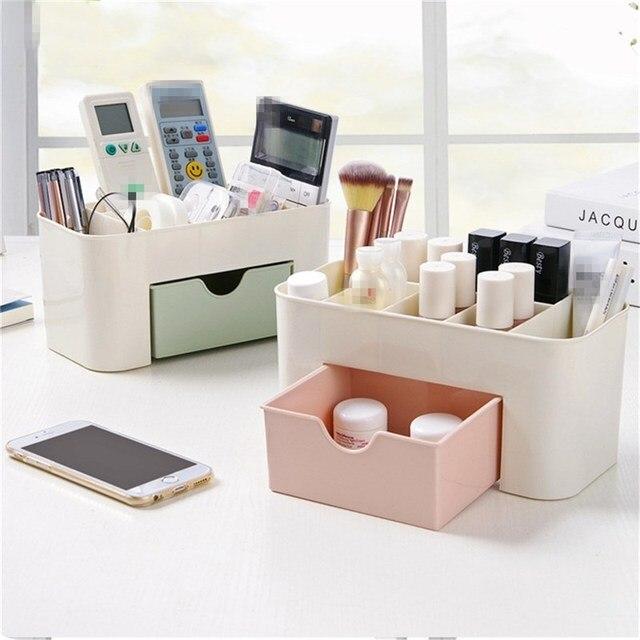 Cosmetic Storage Box 6 Grid with Drawer Jewelry Organizer Office
