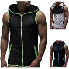 PADEGAO mens hoodie t-shirt zipper Cardigan sleeveless hoody tank tops Loose Casual fitness vest Bodybuilding Stringer Tank tee