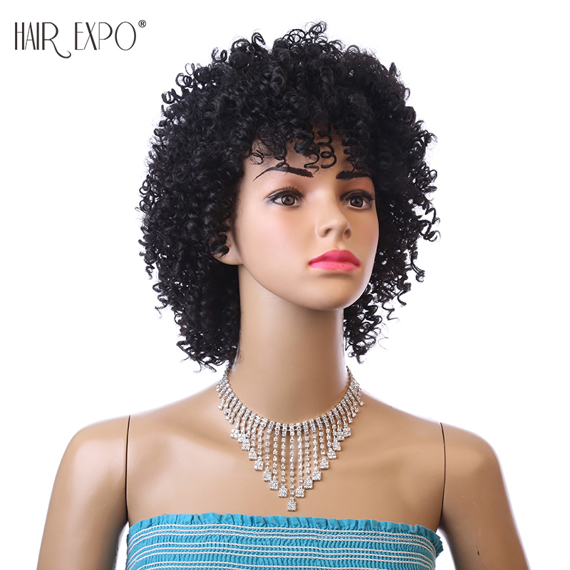 6inch Short Kinky Curly Wig Afro Synthetic Wigs African Hairstyle For Black Women Hair Expo CitySynthetic None-Lace  Wigs   -