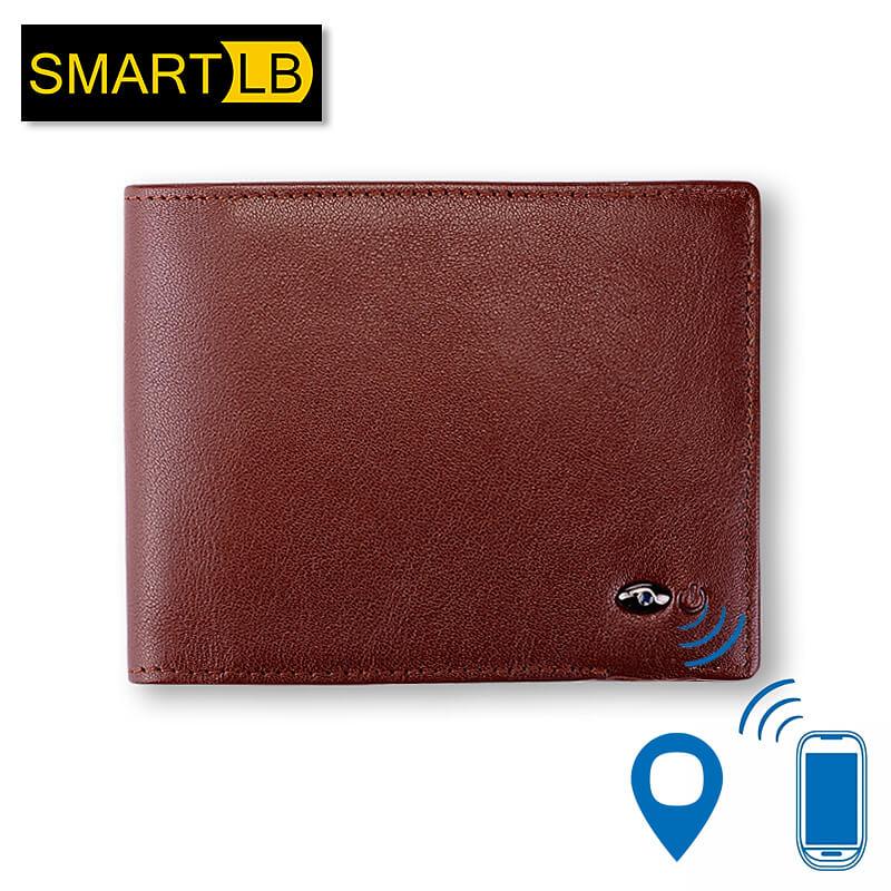Modoker Cartera Smart de cuero genuino con alarma GPS mapa Bluetooth alarma hombres monedero negro