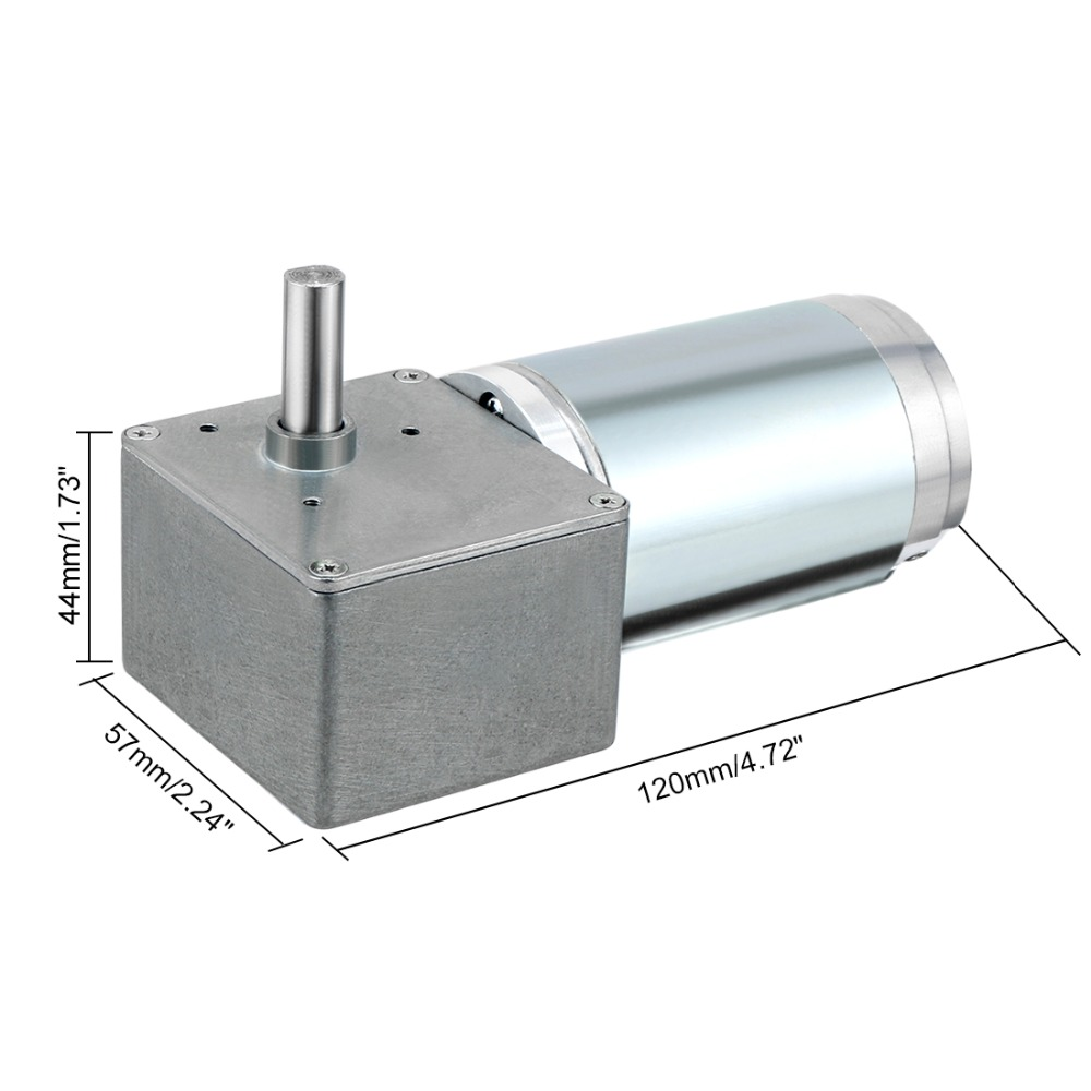 UXCELL DC 24V 200RPM 1.9A 8kg.cm 20x8mm Shaft High Torque Reversible Turbine Worm Gear Motor with Carbon Brushes Self locking