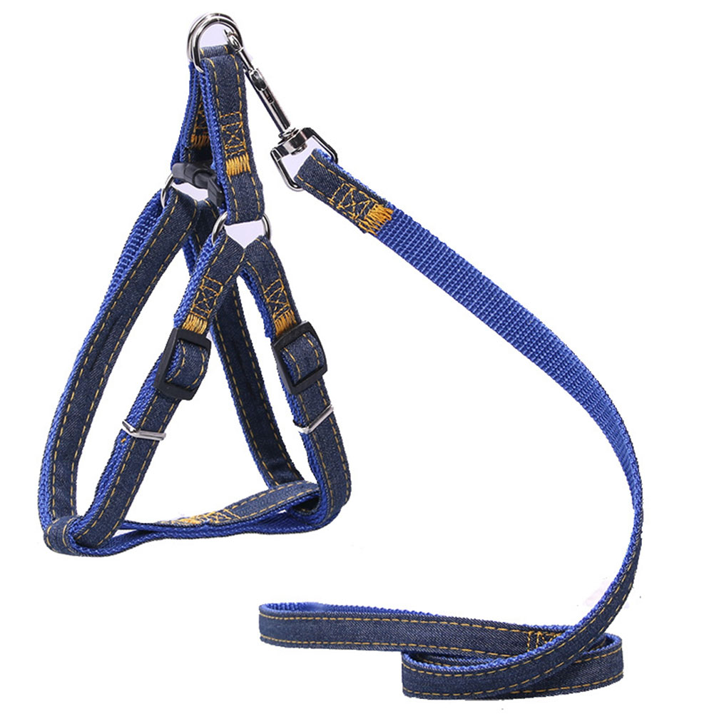 2pc/set New Arrival Hot Sales Colorful Denim Leash Harness Dog Collar Chain Cat rope belt adjustable collar dogs