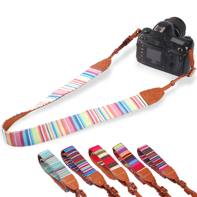 2pcs/lot Camera Shoulder Neck Strap Knitted Fabric Bohemia Style Shoulder Strap for Nikon for Canon SLR DSLR 7 Pop Fashion Color